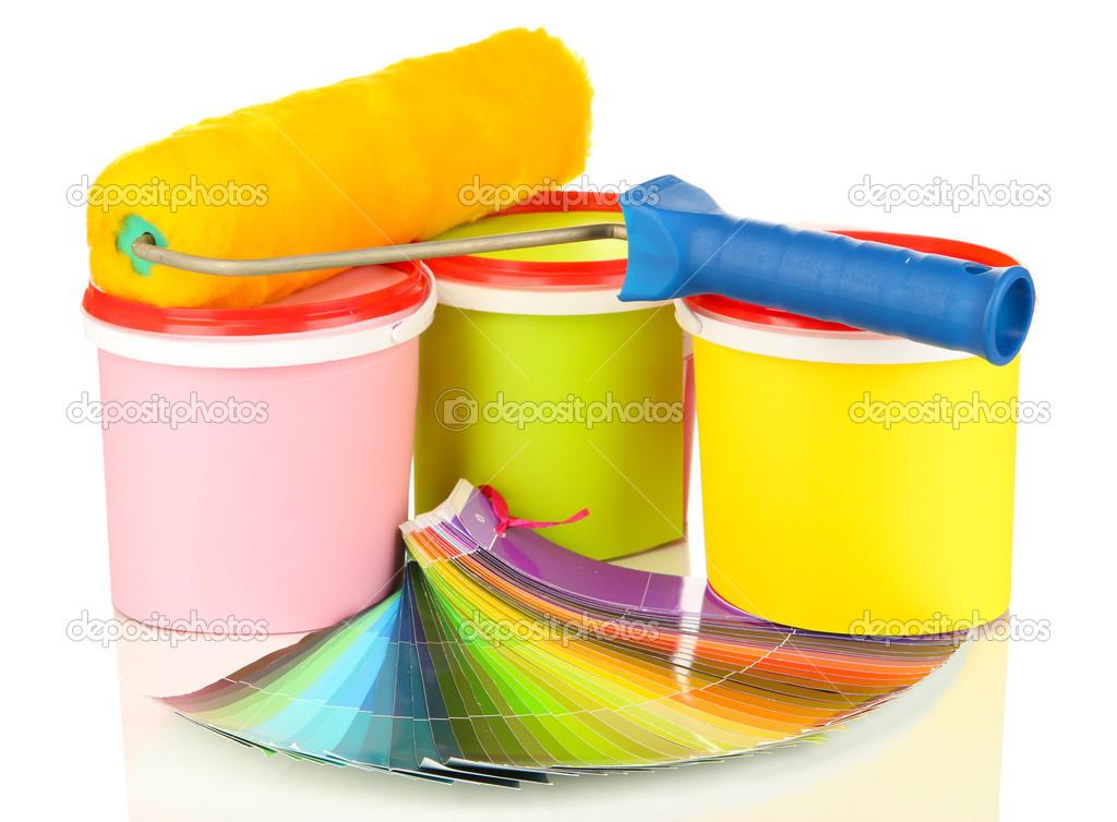 Pour la peinture peindre les pots pinceaux rouleau peinture palette de couleurs isol sur - Pot de peinture prix ...