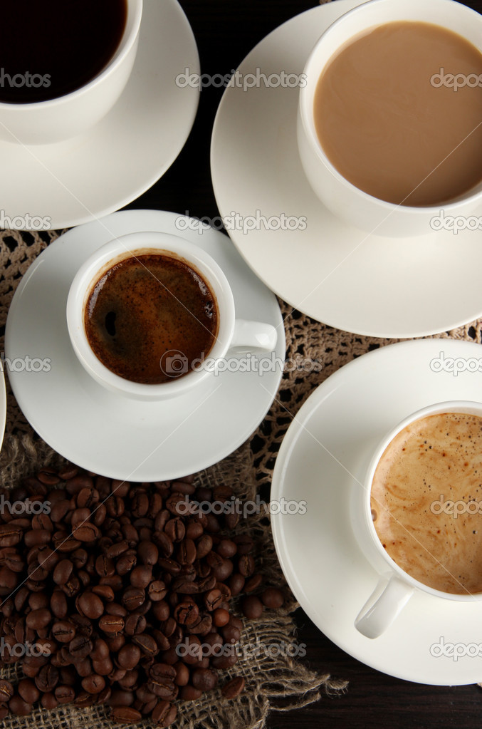 Auswahl an verschiedenen heißen Kaffeegetränke hautnah — Stockfoto ...