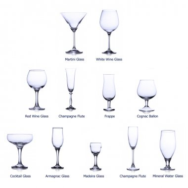 collection of empty glasses with designation isolated on white background