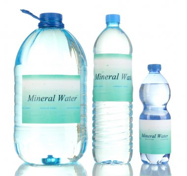 Different water bottles with label isolated on white