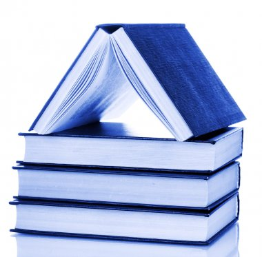 house built of books isolated on white