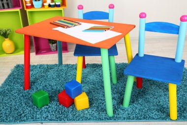 Small and colorful table and chairs for little kids