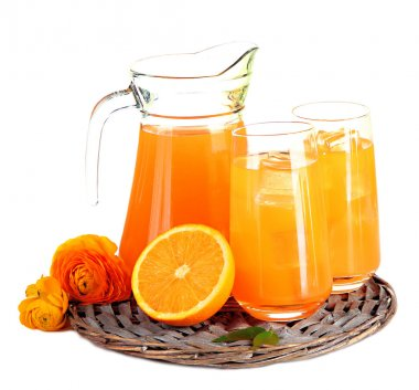 Glasses and pitcher of orange juice isolated on white