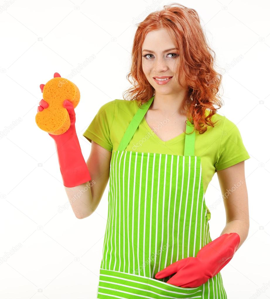 White apron green thumb - Young Woman Wearing Green Apron And Rubber Gloves With Sponge Isolated On White Stock