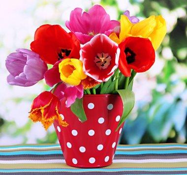 """Картина, постер, плакат, фотообои """"Красивые тюльпаны в букет на стол на ярком фоне"""", артикул 23603869"""