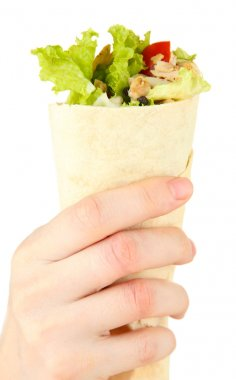 Hand holding kebab - grilled meat and vegetables, wrapped in pita, isolated on white