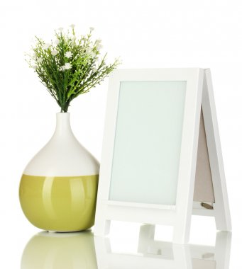 White photo frame for home decoration isolated on white