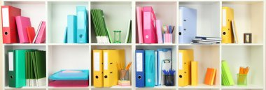 White office shelves with different stationery, close up stock vector