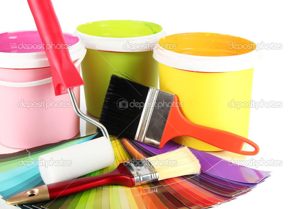 Pots pinceaux et couleurs nuancier de peinture photographie belchonock 24526039 - Pot de peinture prix ...