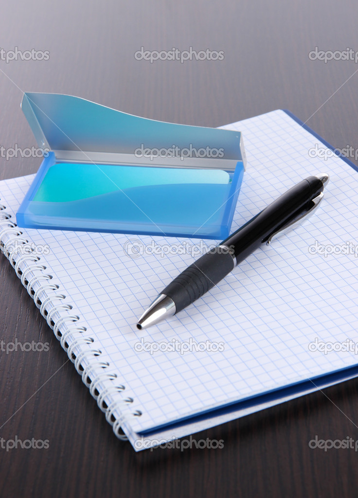 Blue business card holder, notebook and pen close-up — Stock Photo ...