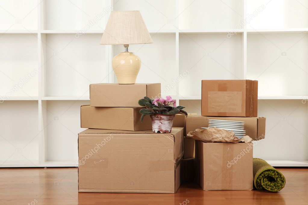Moving Boxes In Empty Room Stock Photo C Belchonock 26549321