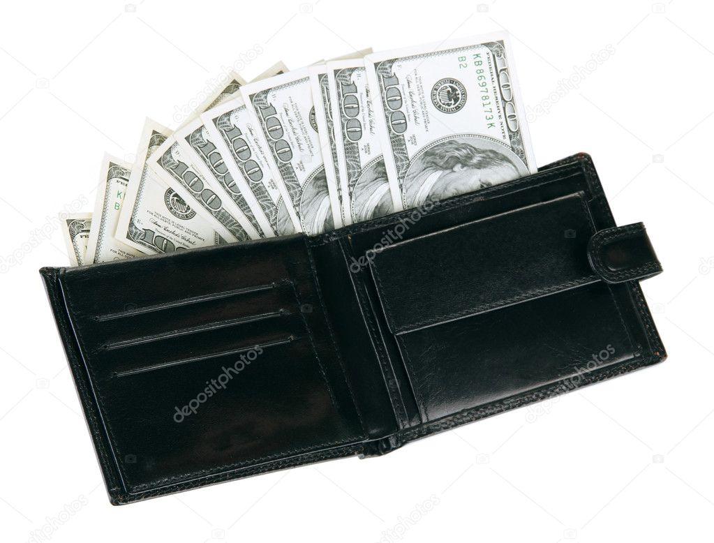 imágenes detalladas código promocional grandes ofertas 2017 Cartera con billetes de cien dólares, aislado en blanco ...