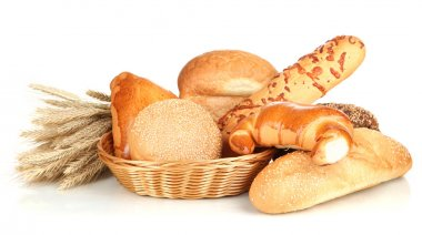 Variety of bread isolated on white