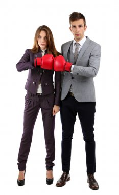 Young business in boxing gloves isolated on white