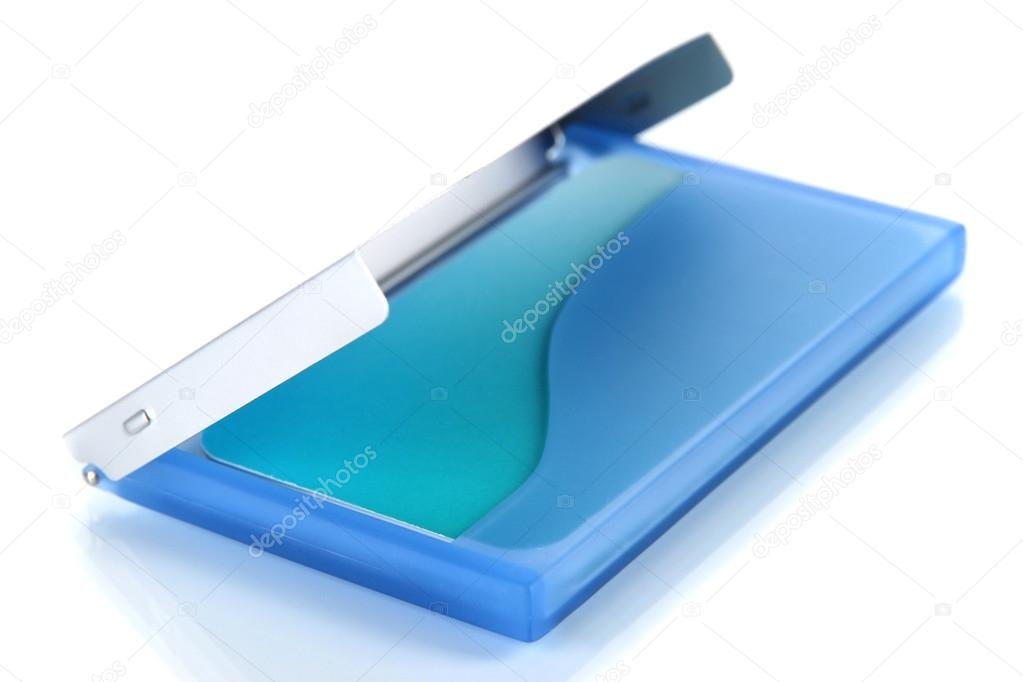 Blue business card holder isolated on white — Stock Photo ...