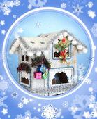 zdobené vánoční dům s sněhové vločky na modrém pozadí