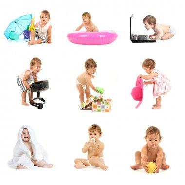 Set of cute baby isolated on white