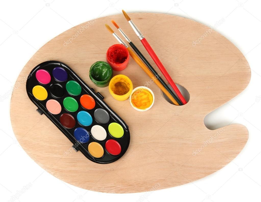 Paleta de madera arte con pinceles para pintar y pinturas - Paleta de pinturas ...