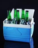 Üveg sör, mini hűtőszekrény, fekete háttér jégkockák