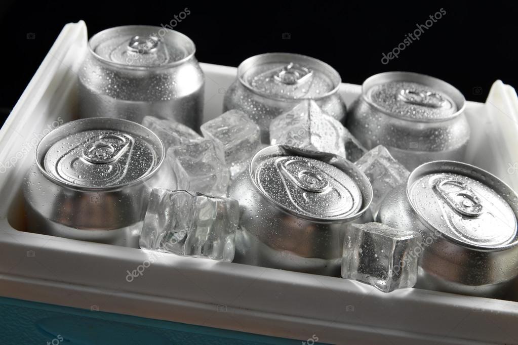 Mini Kühlschrank Bier : Metall dosen bier mit eiswürfeln in mini kühlschrank nähe