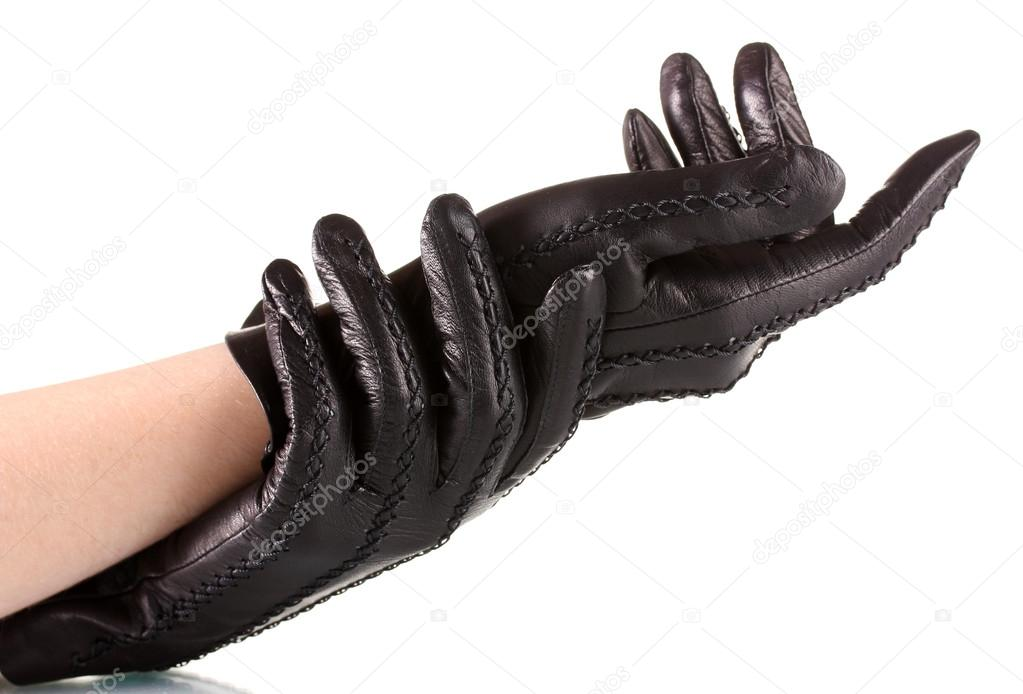 1e82811fb Women's hands in black leather gloves isolated on white — Stock Photo