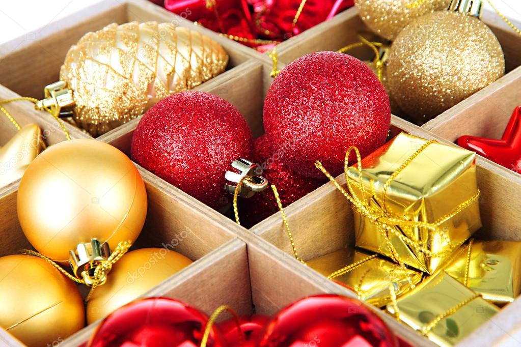 wooden box filled with christmas decorations background stock photo - Wooden Box Christmas Decorations