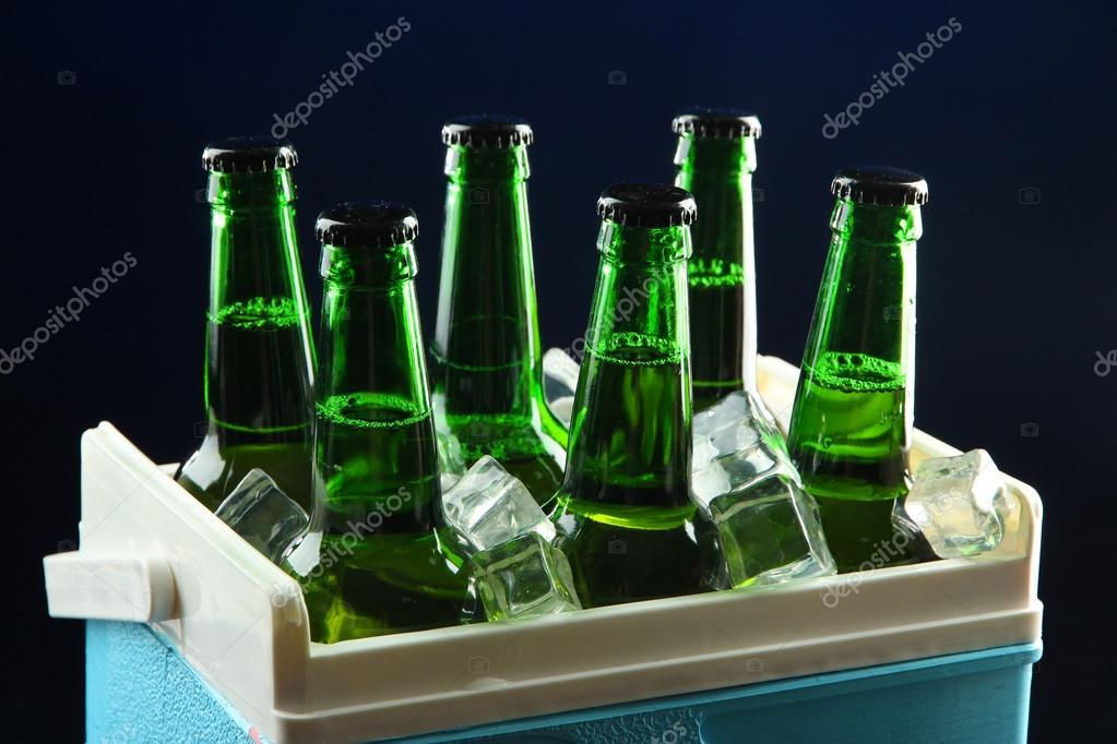 Mini Kühlschrank Für Bier : Flaschen bier mit eiswürfeln in mini kühlschrank auf dunkel