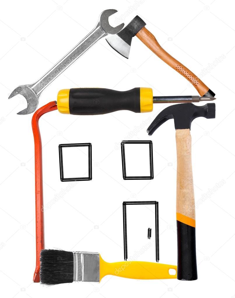viele verschiedene Werkzeuge, legte mit Haus isoliert auf weiss ...