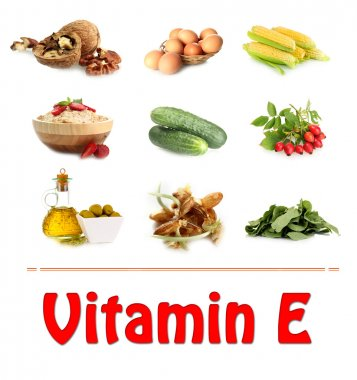 Food sources of vitamin E, isolated on white