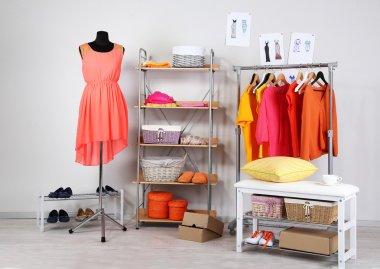 Women wardrobe in sunny colors