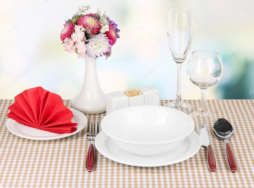 Cenário De Mesa Linda Para Pequeno Almoço U2014 Fotografia De Stock