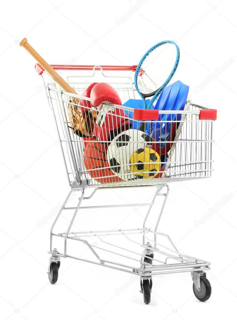 a0b66f6c8 carrinho de compras com equipamentos de esporte