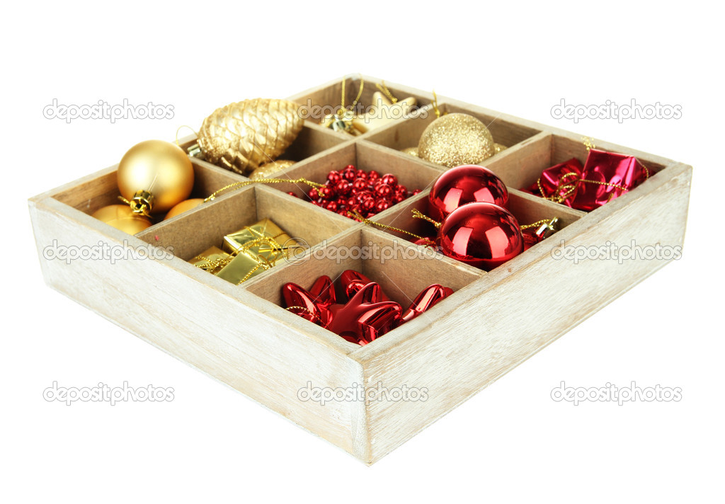 wooden box filled with christmas decorations isolated on white stock photo - Wooden Box Christmas Decorations