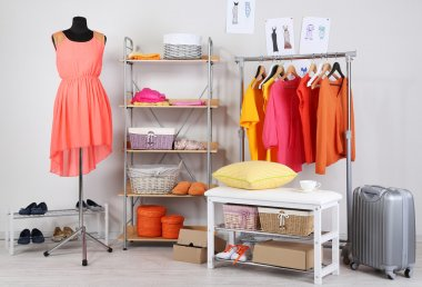 Women wardrobe in sunny colors