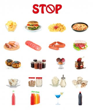 Collage of different unhealthy food