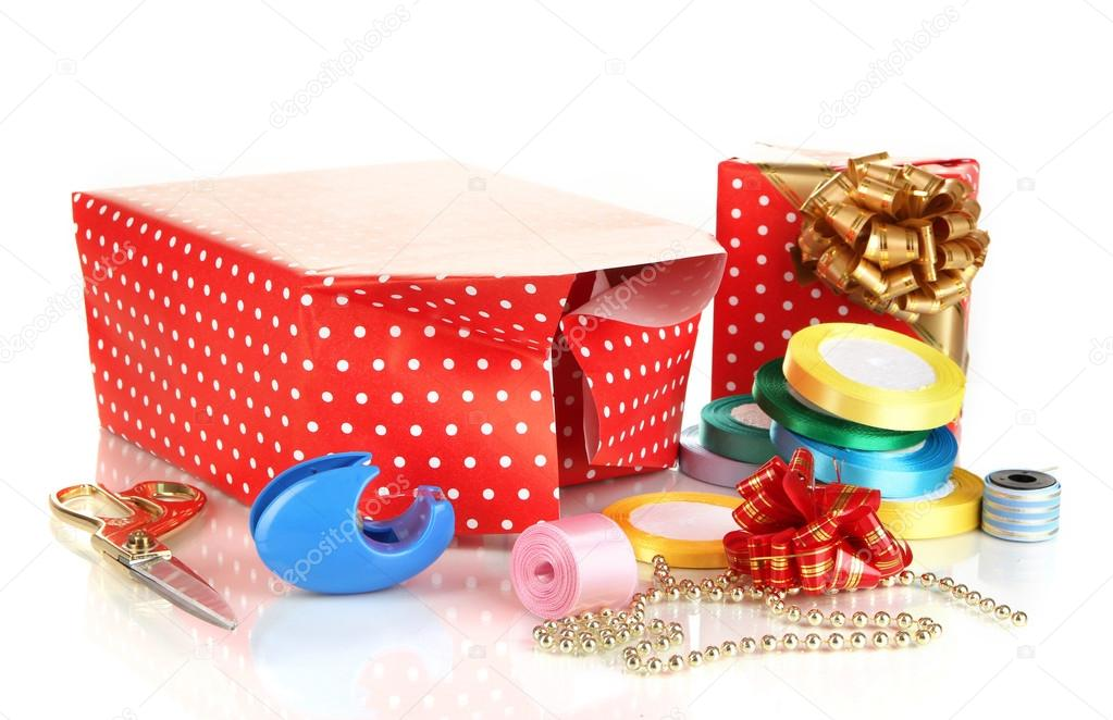 Materialien und Zubehör zur Verpackung von Geschenken mit ...
