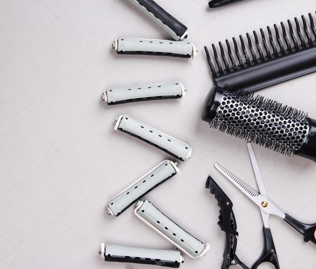 Professional Hairdresser Tools On Gray Background Stock
