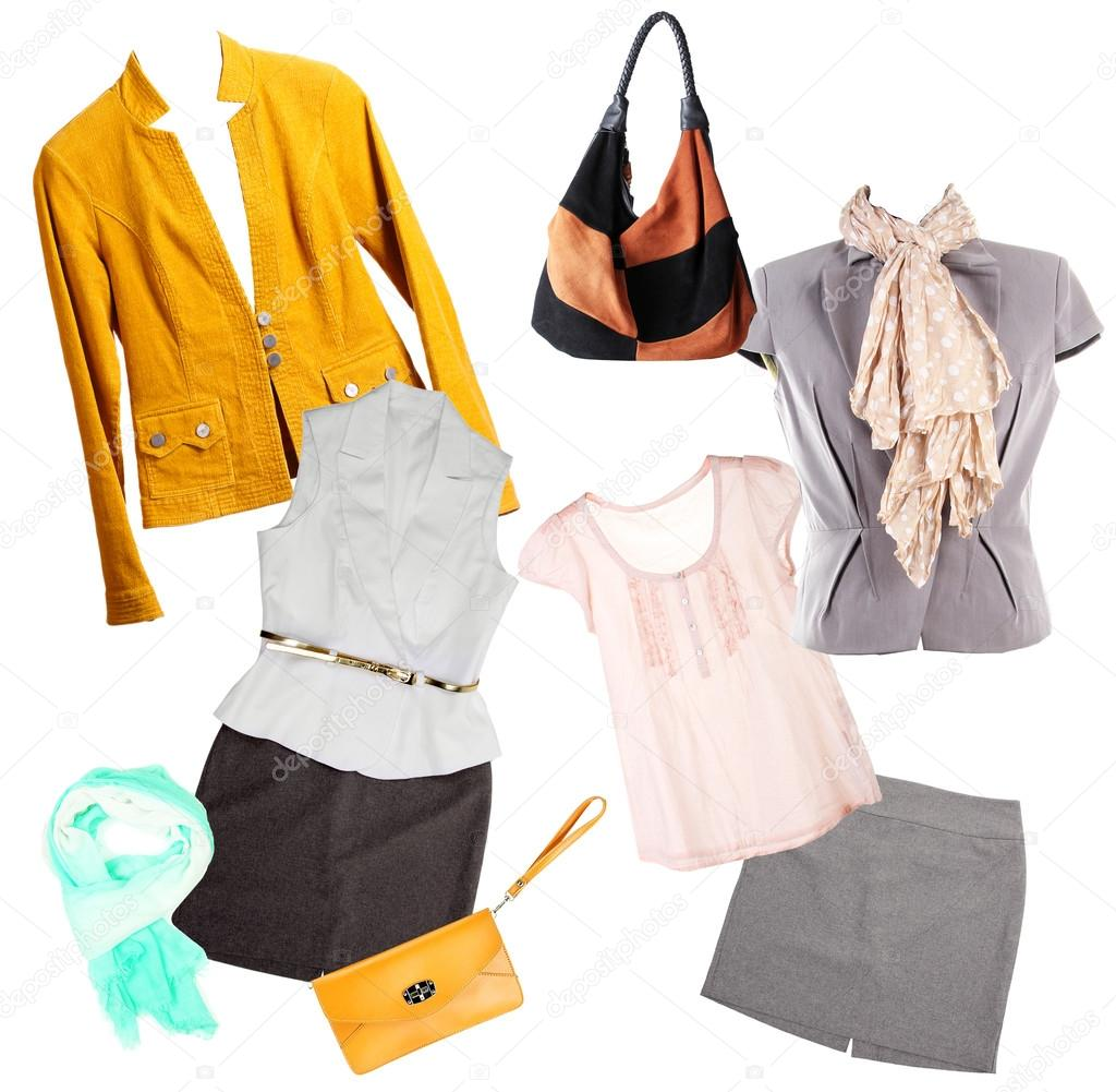adc71b09772 κολάζ από μοντέρνα ρούχα και αξεσουάρ που απομονώνονται σε λευκό ...