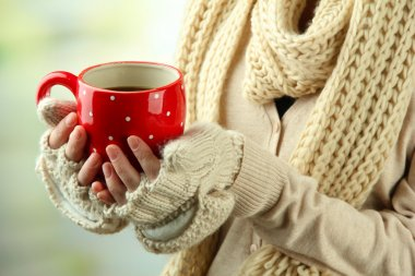 Female hands with hot drink, on light background stock vector