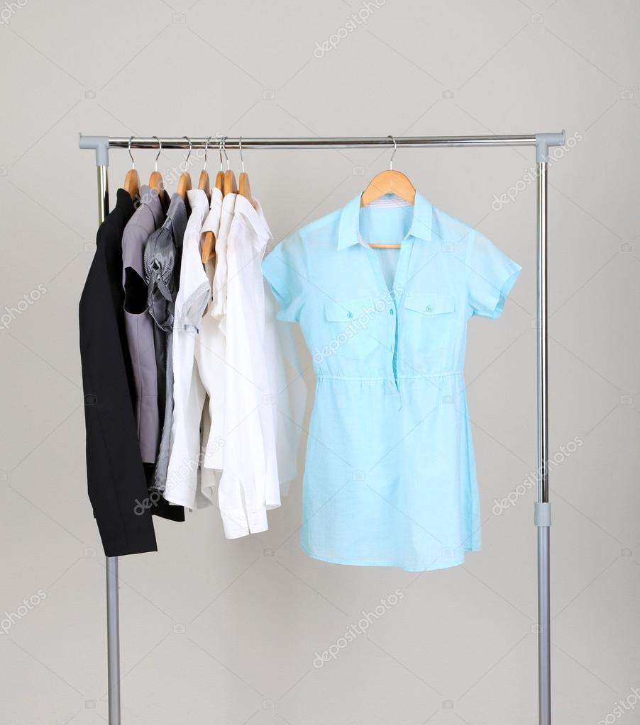 Delightful Office Clothes On Hangers, On Gray Background U2014 Stock Photo