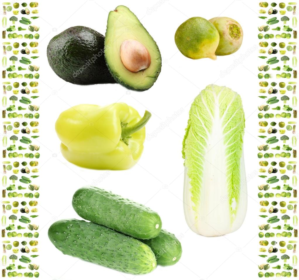 collage of green vegetables and fruits u2014 stock photo belchonock