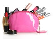 Bellissimo make-up bag con cosmetici, isolato su bianco