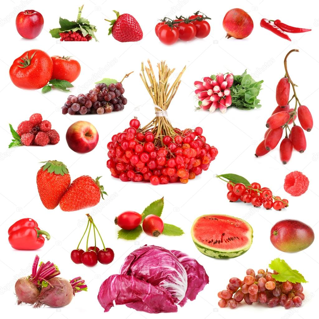 Collection of fruits and vegetables isolated on white ... Red Fruits And Vegetables List