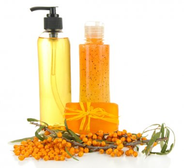 Branch of sea buckthorn with scrub and gel isolated on white
