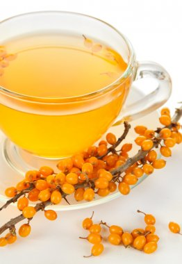 Branches of sea buckthorn with cup of tea isolated on white