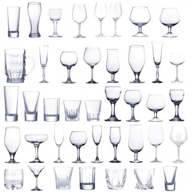 Collage of empty glasses isolated on white