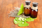 Fotografie Ginkgo biloba leaves and medicine bottles on wooden background