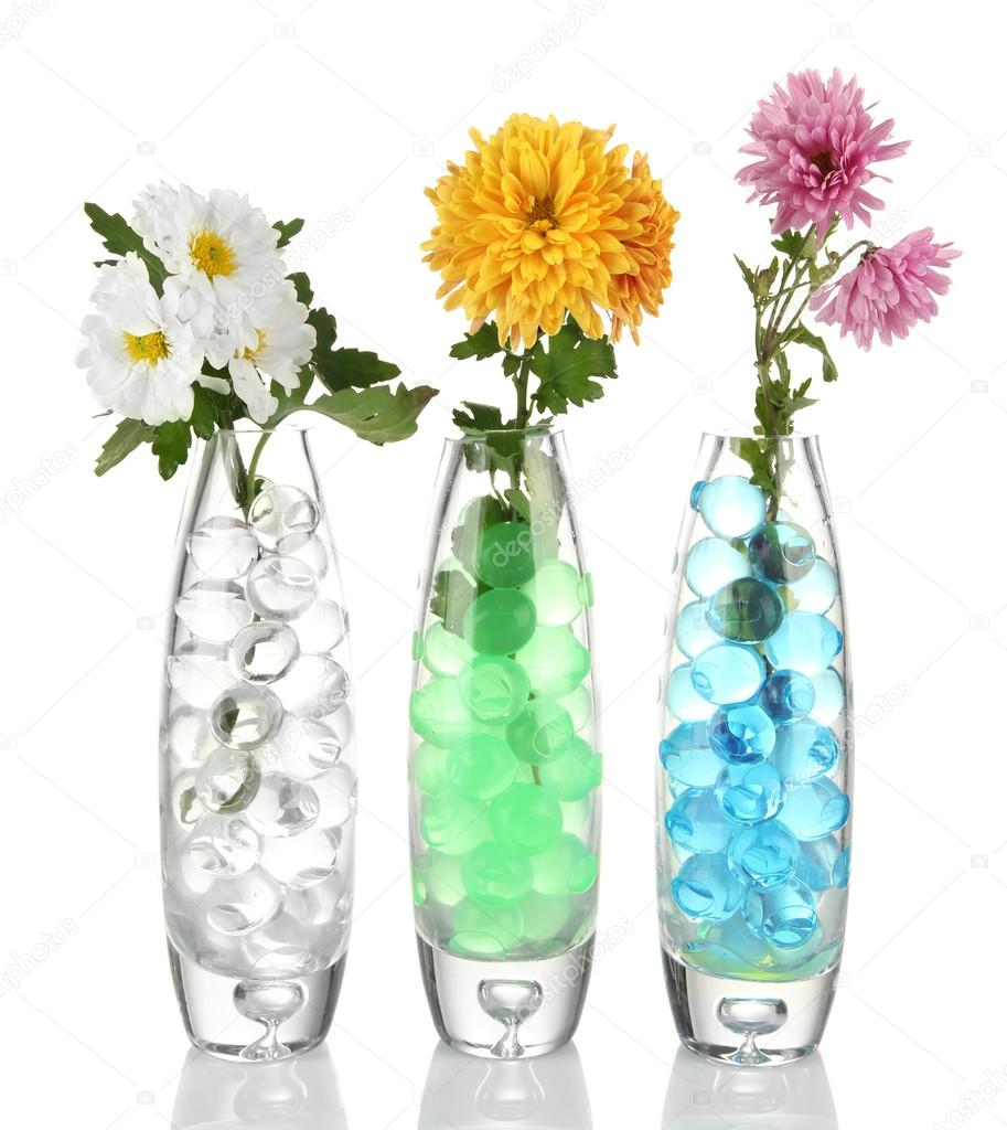 Beautiful flowers in vases with hydrogel isolated on white\u2013 stock image  sc 1 st  Depositphotos & Beautiful flowers in vases with hydrogel isolated on white \u2014 Stock ...