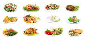 Fotografie Collage of delicious dishes isolated on white