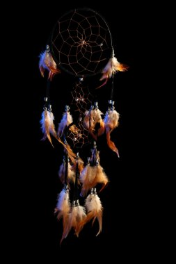 Beautiful dream catcher on black background